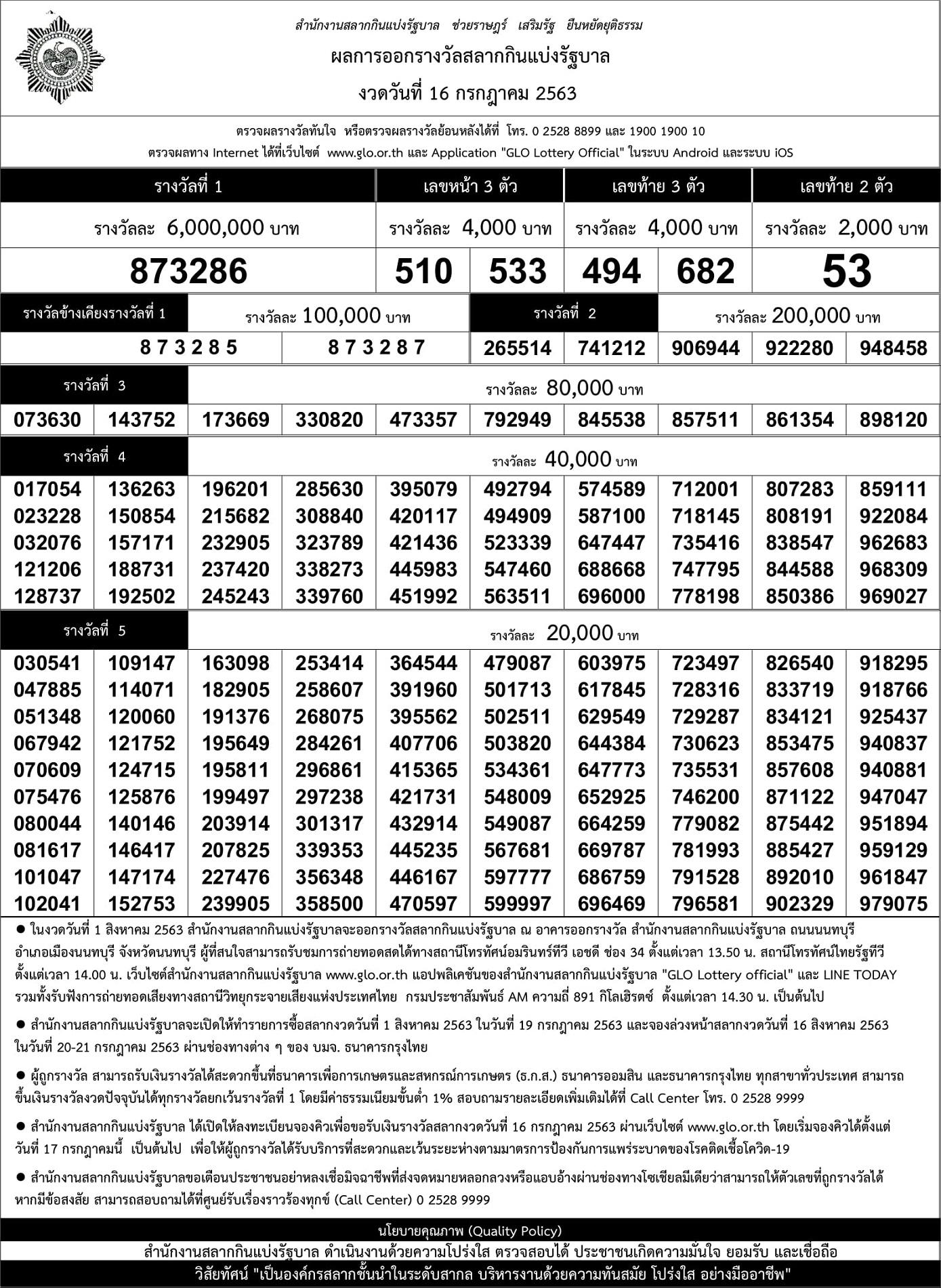 เรียงเบอร์16/07/63 ฉบับมาตรฐานกองสลาก ใบตรวจหวยเรียงตัวเลข