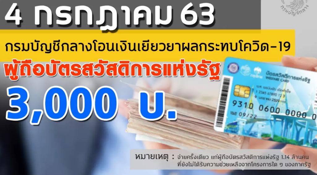 """จ่ายเงินเยียวยา 3,000 บาท ให้ผู้ถือ """"บัตรคนจน"""" วันเดียวเท่านั้น"""