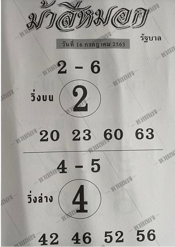 เลขเด็ดงวดนี้ หวยดัง ม้าสีหมอก 16/7/63