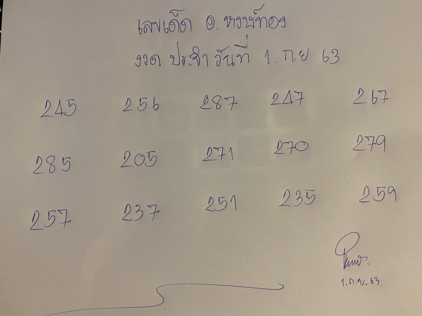 เลขเด็ดอาจาร์ยหงษ์ทอง งวด 1/09/2563