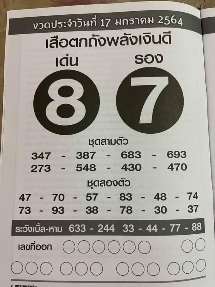 หวยเด็ดซองดังฟรี เสือตกถังพลังเงินดี งวดล่าสุด 17/1/64