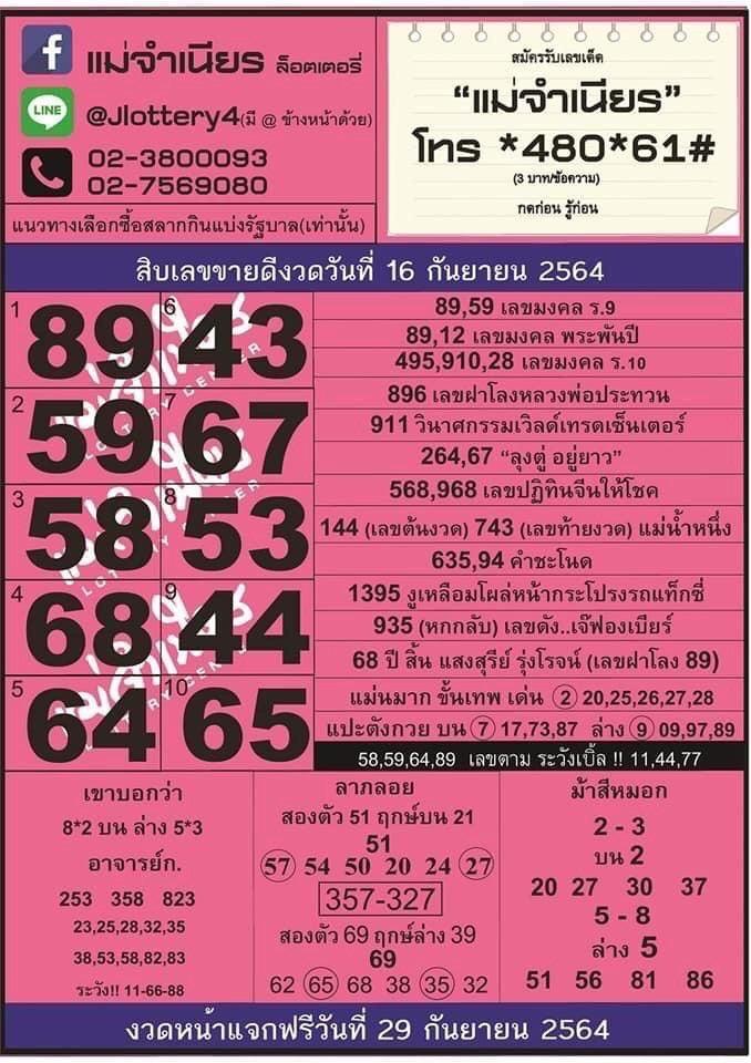 หวยไทยรัฐ หวยแม่จำเนียร ล่าสุด 16/9/64